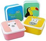 com-four 4x Fiambrera para niños - Fiambrera colorida para niños con motivos de animales geniales, apto para el lavavajillas (04 piezas - mezclar)