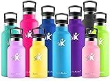 KollyKolla Botella de Agua Acero Inoxidable, Termo Sin BPA Ecológica Reutilizable, Botella Termica con Pajita y Filtro, Water Bottle para Niños & Adultos, Deporte, Oficina, Yoga, (350ml Azul)