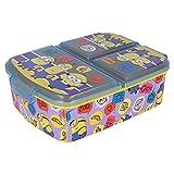 MINIONS 2 | Sandwichera con 3 compartimentos para niños - lonchera infantil - Porta merienda - Fiambrera decorada