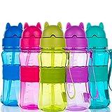 Botella de Agua Niños y Niñas 300 ml Sin BPA Botella de Agua Deporte con Pajita y Correa para Infantil, Escuela, Corrida, Senderismo y Actividades al Aire (Azul Claro)