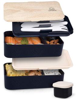 Caja bento japonesa con tapas de bambu y varios niveles