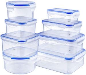 Deik El juego de 8 cajas de plástico hermético sin bpa para alimentos